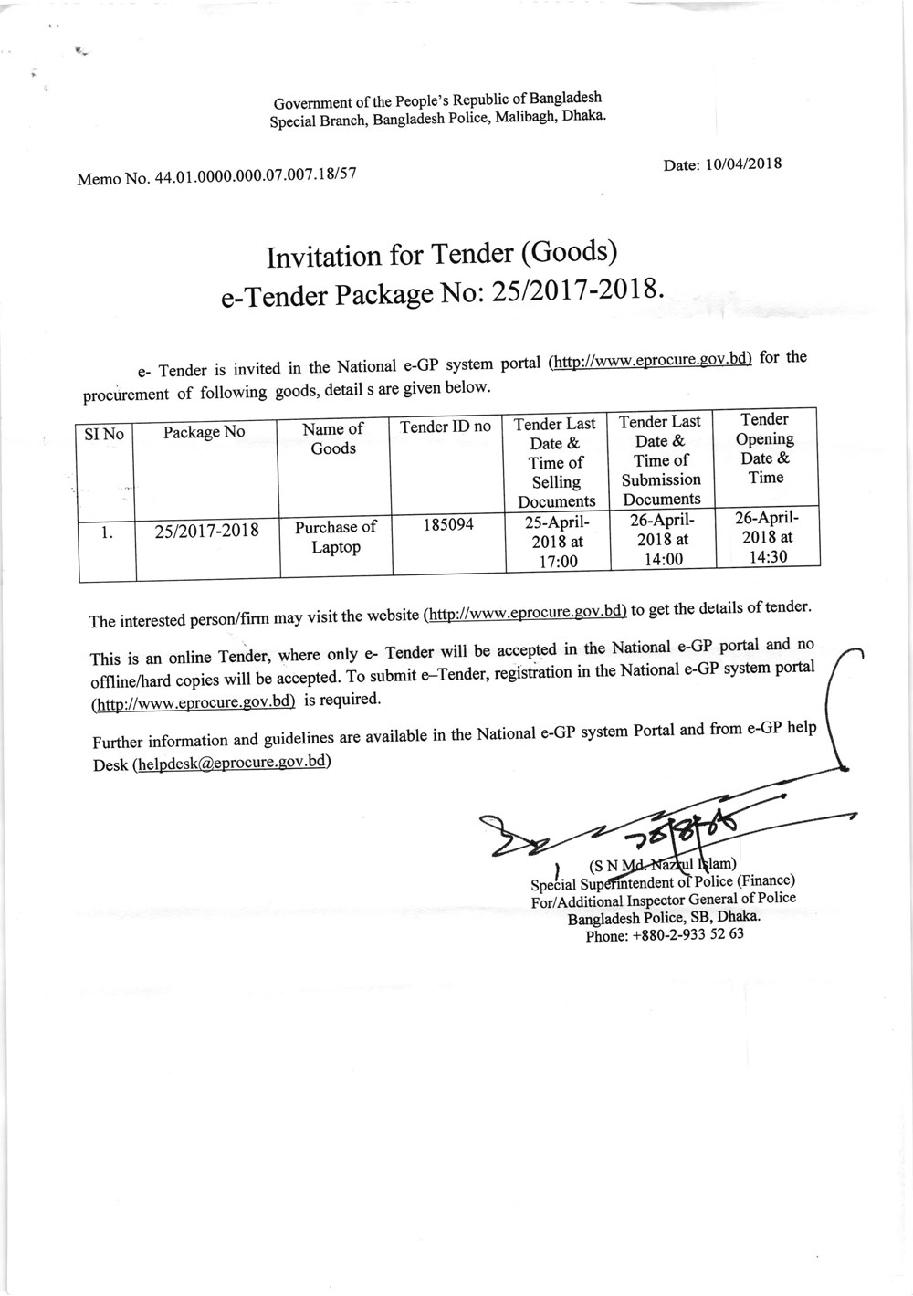 Invitation for tender goods from special branch 12042018 notice20180412 2 stopboris Images