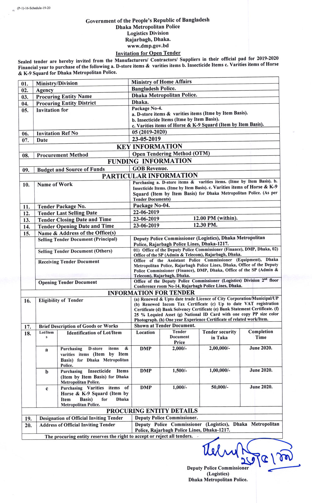 Invitation for Open Tender From Dmp Logistics Division ( 23/05/2019